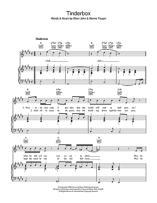 Tinderbox Sheet Music