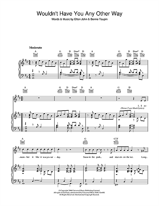 Wouldn't Have You Any Other Way (NYC) Sheet Music