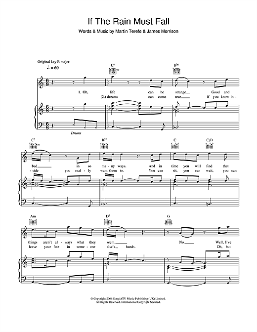 If The Rain Must Fall Sheet Music