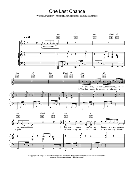 One Last Chance Sheet Music