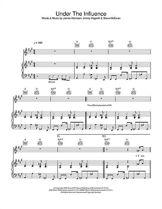 Under The Influence Sheet Music