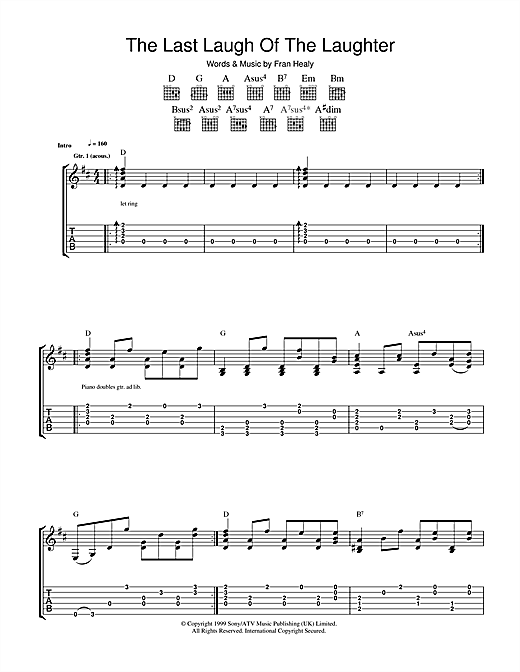 Tablature guitare The Last Laugh Of The Laughter de Travis - Tablature Guitare