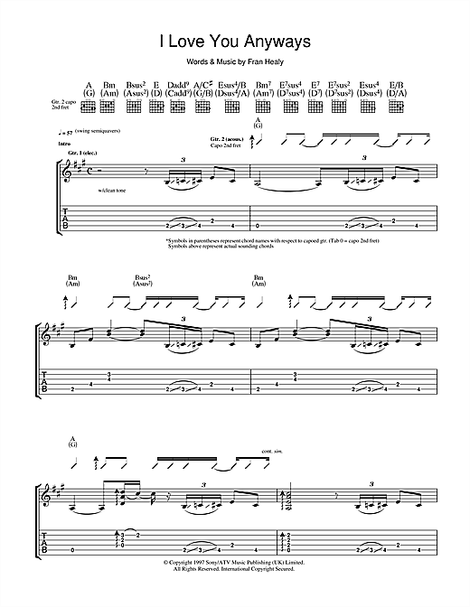 Tablature guitare I Love You Anyways de Travis - Tablature Guitare