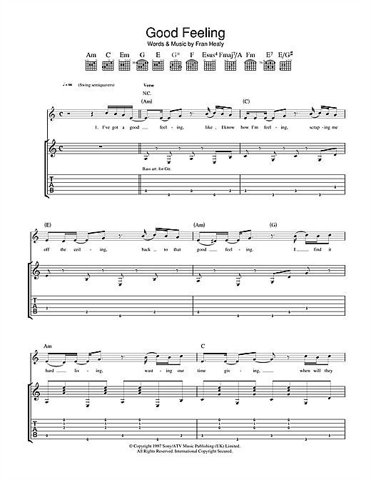Good Feeling Guitar Tab By Travis Guitar Tab 36875