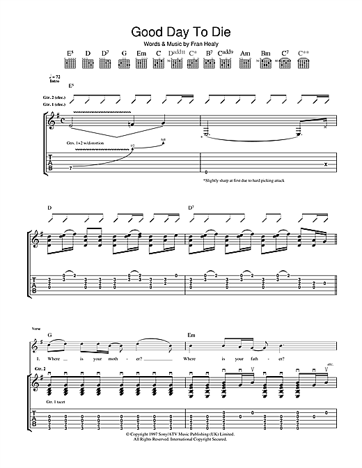 Tablature guitare Good Day To Die de Travis - Tablature Guitare