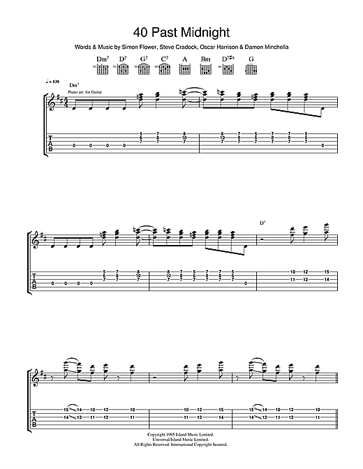 Tablature guitare 40 Past Midnight de Ocean Colour Scene - Tablature Guitare