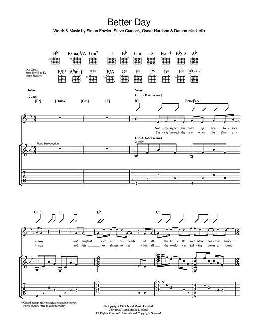 Tablature guitare A Better Day de Ocean Colour Scene - Tablature Guitare
