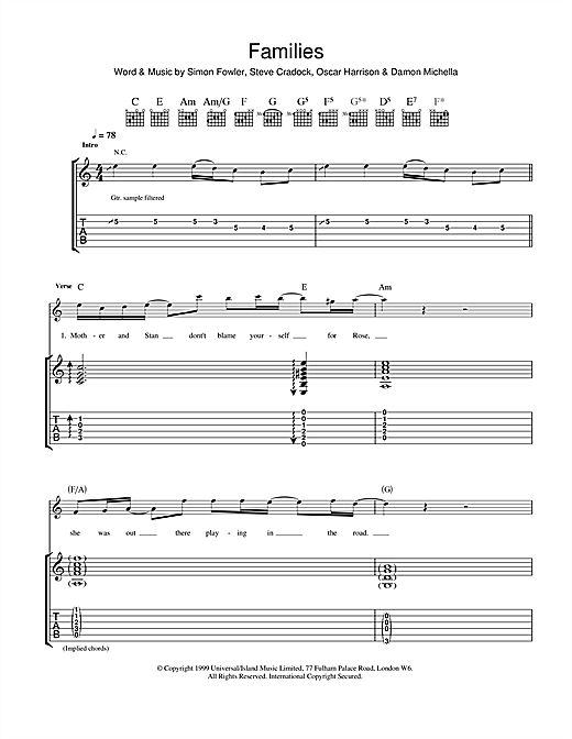 Tablature guitare Families de Ocean Colour Scene - Tablature Guitare