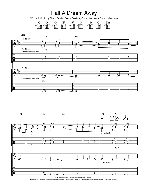 Tablature guitare Half A Dream Away de Ocean Colour Scene - Tablature Guitare