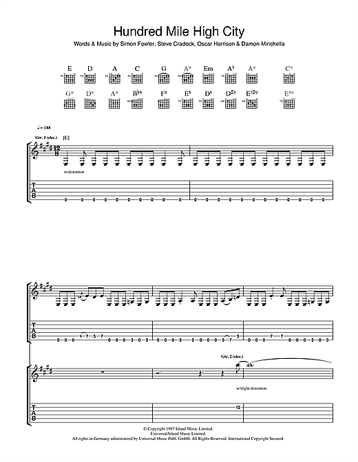 Tablature guitare Hundred Mile High City de Ocean Colour Scene - Tablature Guitare