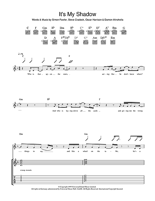 Tablature guitare It's My Shadow de Ocean Colour Scene - Tablature Guitare