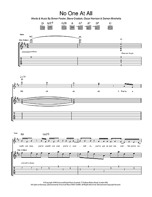 Tablature guitare No One At All de Ocean Colour Scene - Tablature Guitare