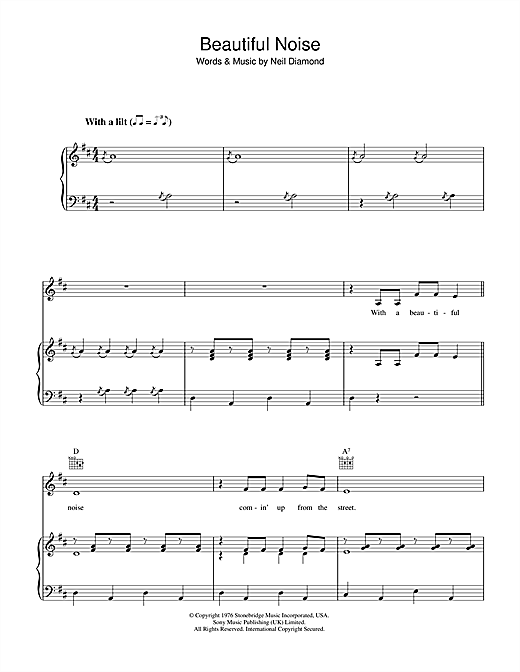 Beautiful Noise (Piano, Vocal & Guitar (Right-Hand Melody))