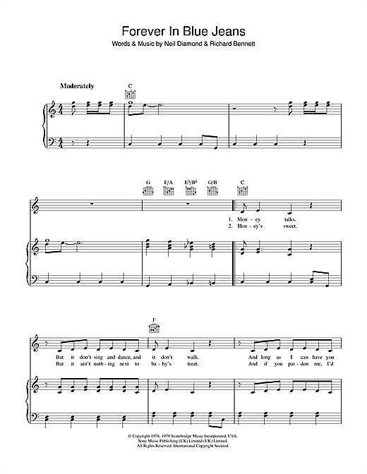 Forever In Blue Jeans Sheet Music