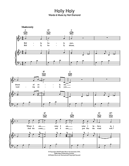 Holly Holy (Piano, Vocal & Guitar (Right-Hand Melody))