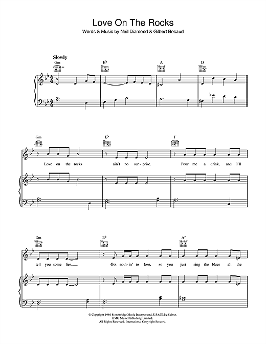 Love On The Rocks (Piano, Vocal & Guitar (Right-Hand Melody))