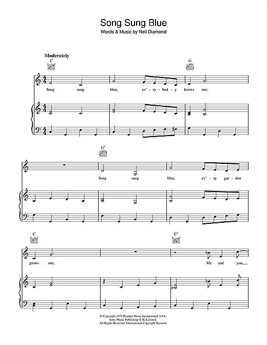 Song Sung Blue Sheet Music