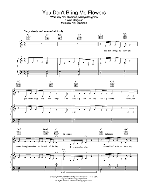You Don't Bring Me Flowers Sheet Music