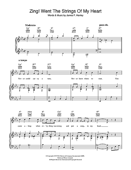 Zing! Went The Strings Of My Heart Sheet Music