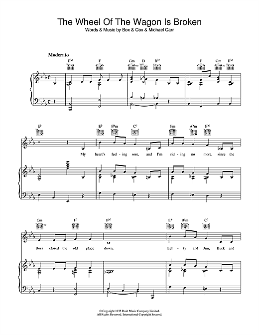 The Wheel Of The Wagon Is Broken Sheet Music