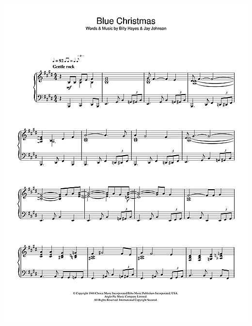 Blue Christmas Sheet Music