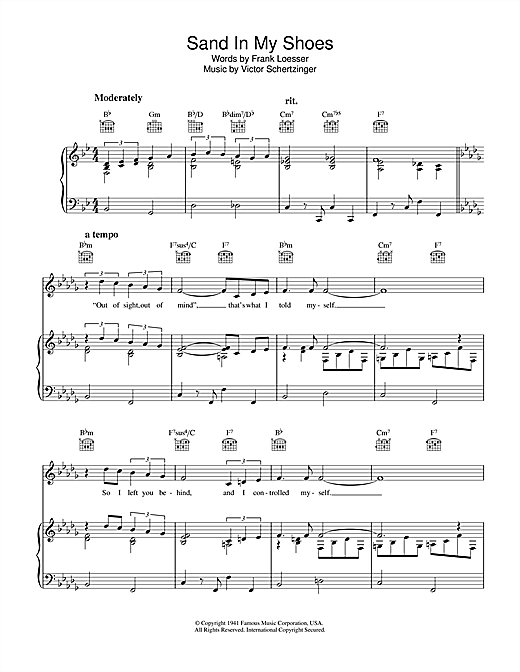 Sand In My Shoes Sheet Music