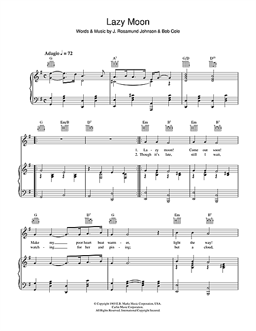Lazy Moon Sheet Music