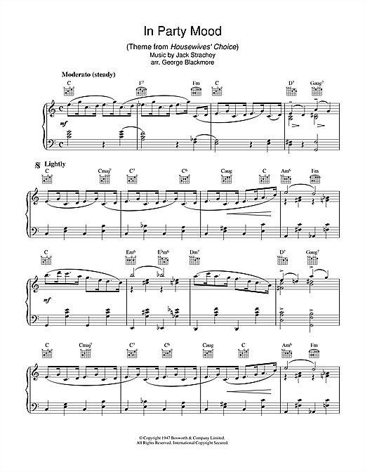 Partition piano In Party Mood (theme from Housewives' Choice) de Jack Strachey - Piano Solo