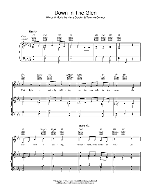 Down In The Glen Sheet Music