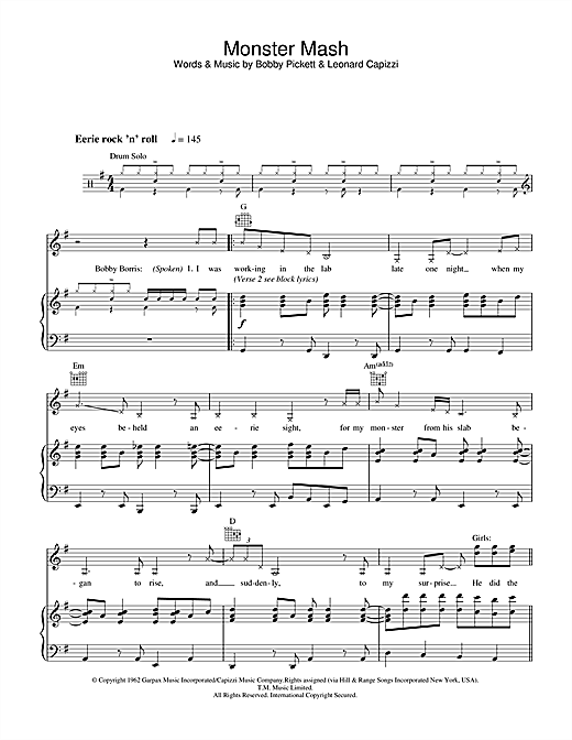 Monster Mash Sheet Music