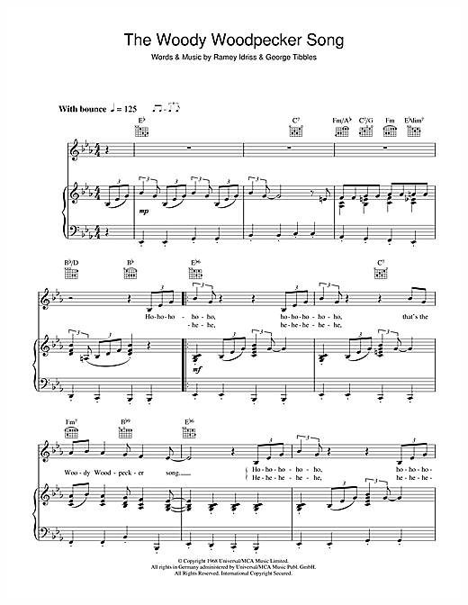 The Woody Woodpecker Song Sheet Music