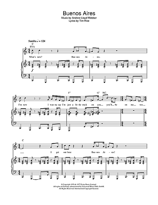 Buenos Aires (from Evita) Sheet Music