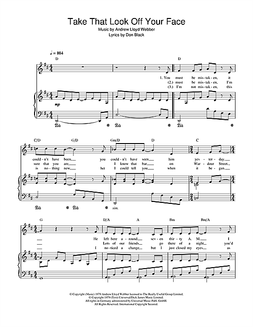 Take That Look Off Your Face (from Song & Dance) Sheet Music