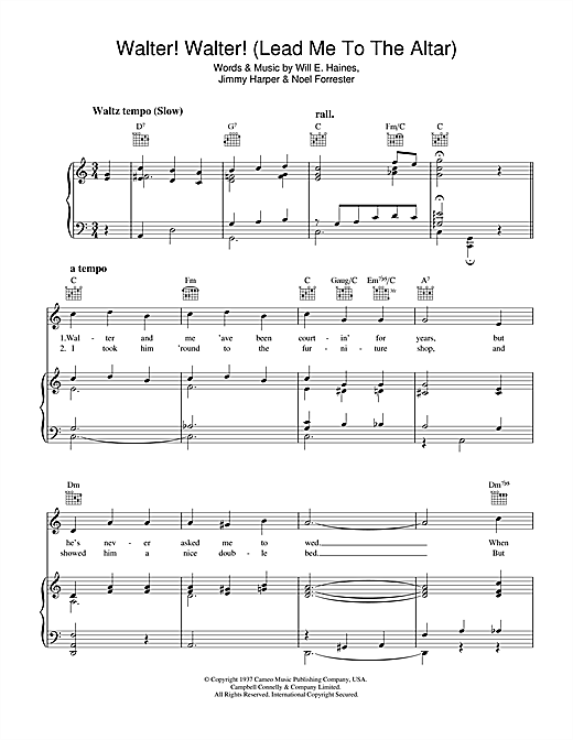 Partition piano Walter, Walter (Lead Me To The Altar) de Will E. Haines - Piano Voix Guitare (Mélodie Main Droite)