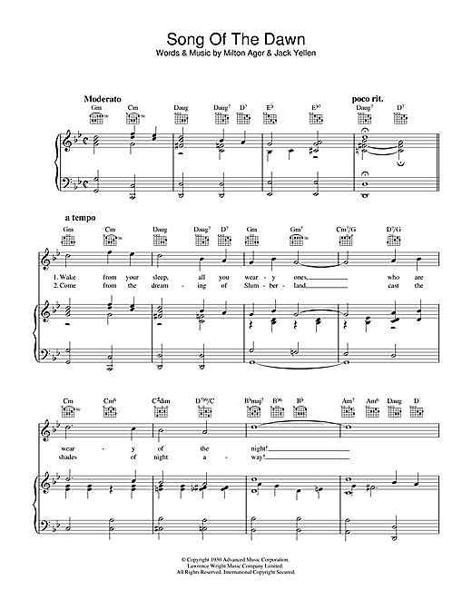 Song Of The Dawn Sheet Music