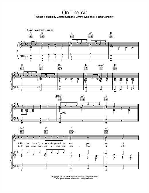 Partition piano On The Air de Carroll Gibbons - Piano Voix Guitare (Mélodie Main Droite)