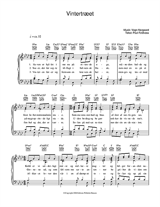 Vintertræet Sheet Music