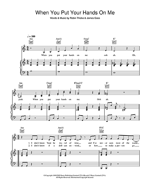 When You Put Your Hands On Me Sheet Music