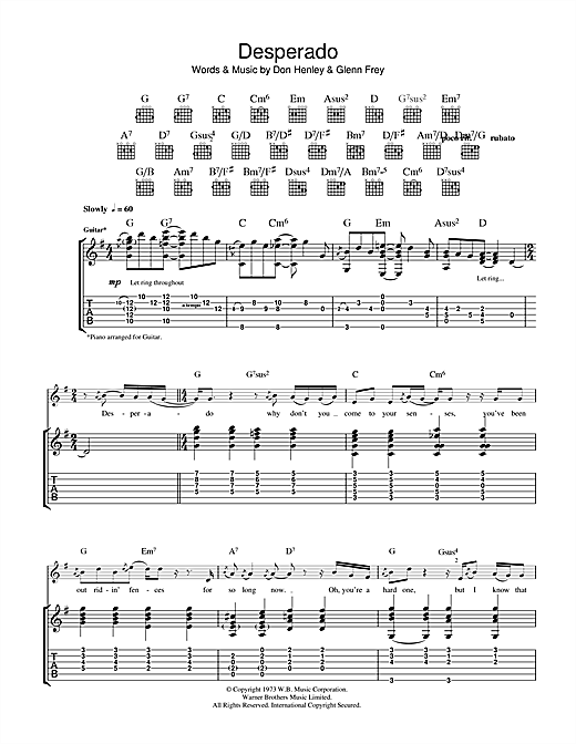 Tablature guitare Desperado de The Eagles - Tablature Guitare
