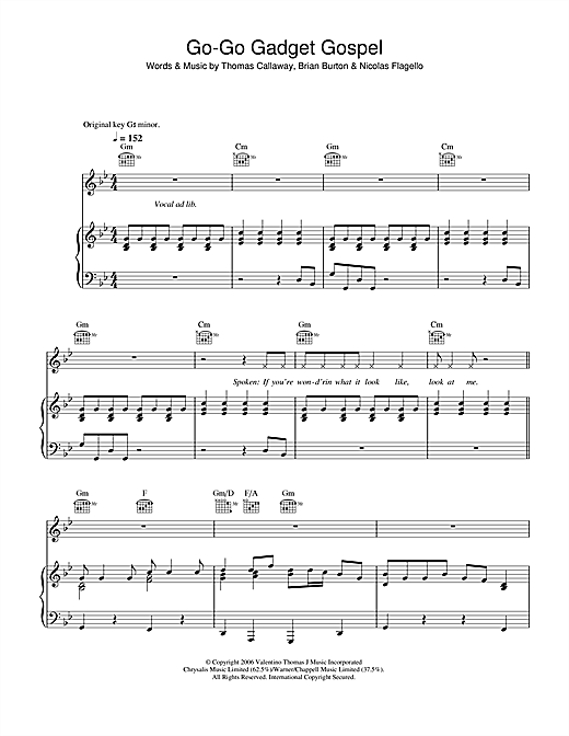 Go-Go Gadget Gospel Sheet Music