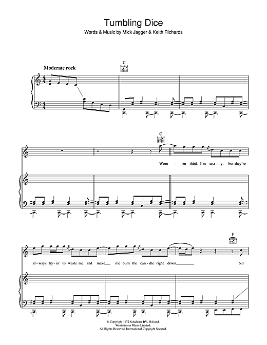 Tumbling Dice Sheet Music