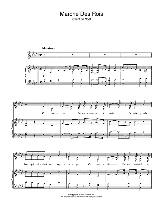Marche Des Rois Sheet Music