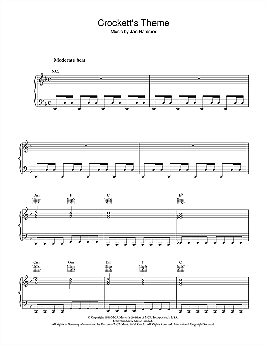 Crockett's Theme (from Miami Vice) Sheet Music