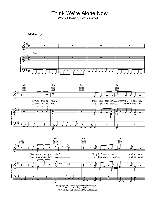 I Think We're Alone Now Sheet Music