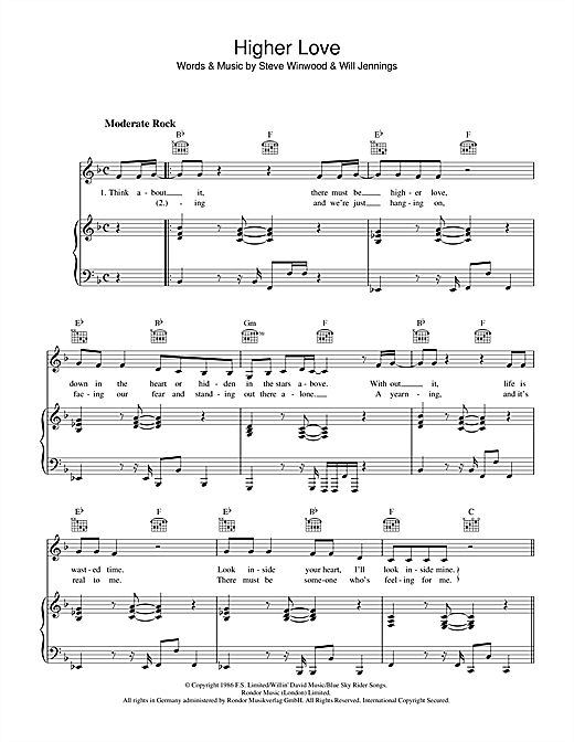Higher Love Sheet Music