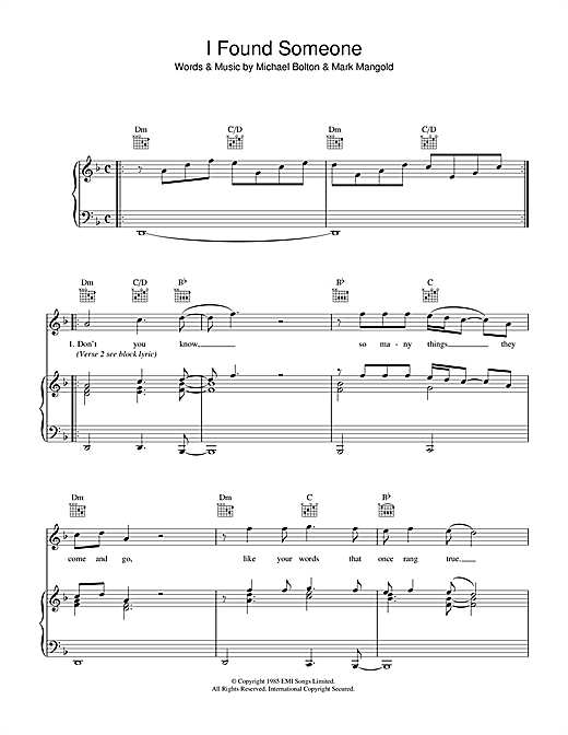 I Found Someone Sheet Music