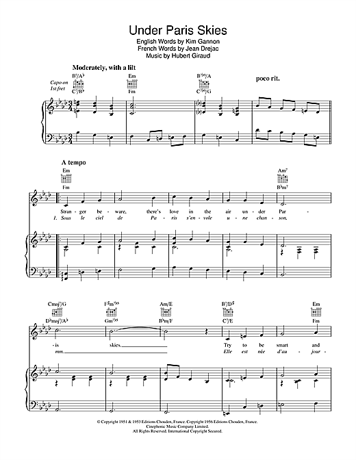 Under Paris Skies (Sous Le Ciel De Paris) Sheet Music