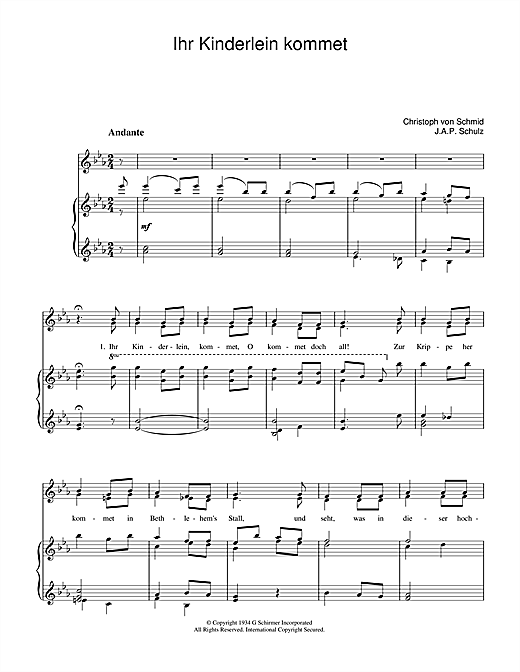 Ihr Kinderlein Kommet Sheet Music