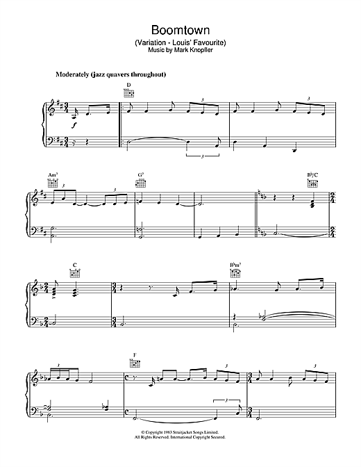 Boomtown (Variation - Louis' Favourite) (from Local Hero) Sheet Music