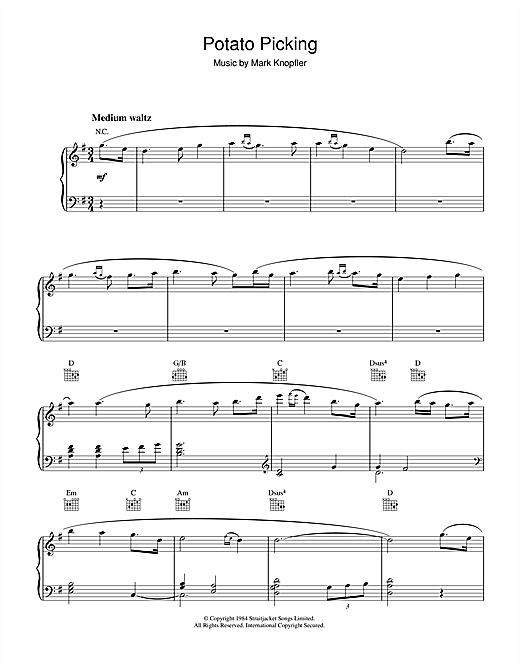 Potato Picking (from Cal) Sheet Music